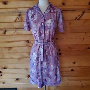 1970s Unlabeled Purplish Floral Polyester Dress